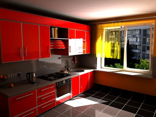красная кухня фото1