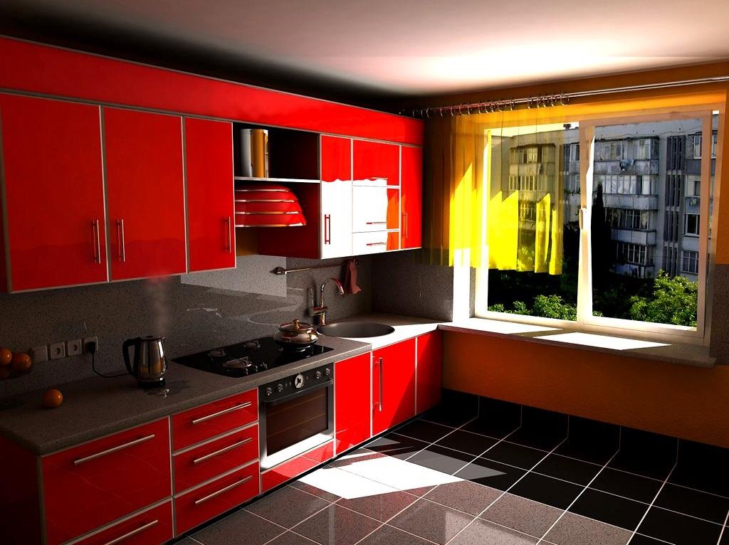 Интерьер кухни в красном черном цвете фото