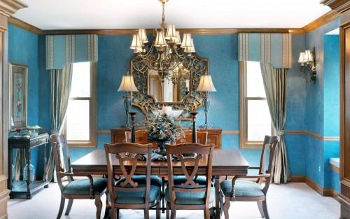 люстра на синей кухне 1