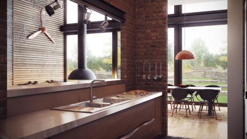 коричневая кухня в стиле индастриал
