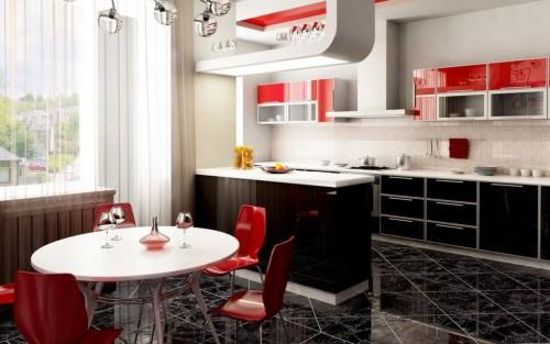 черная с красным кухня