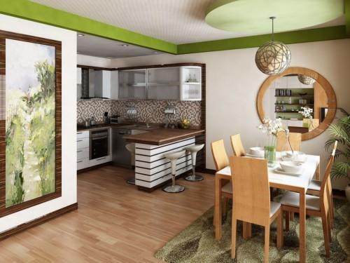 светлая с зеленым кухня
