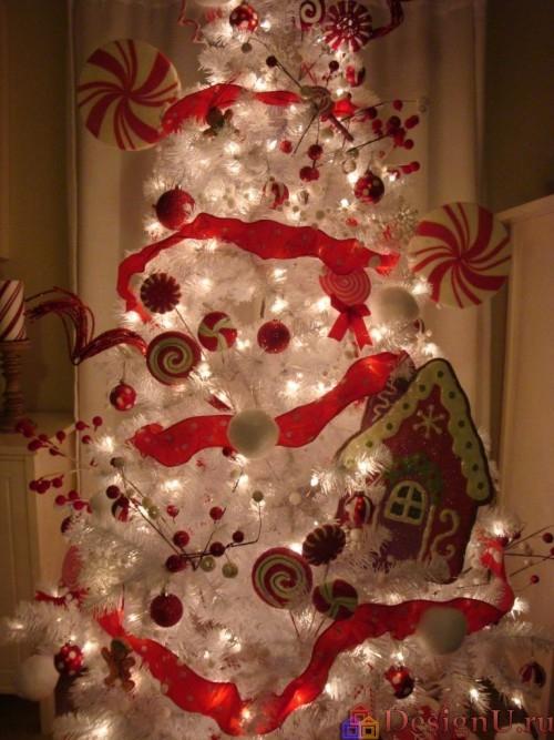 декорирование белой елки новый год рождество