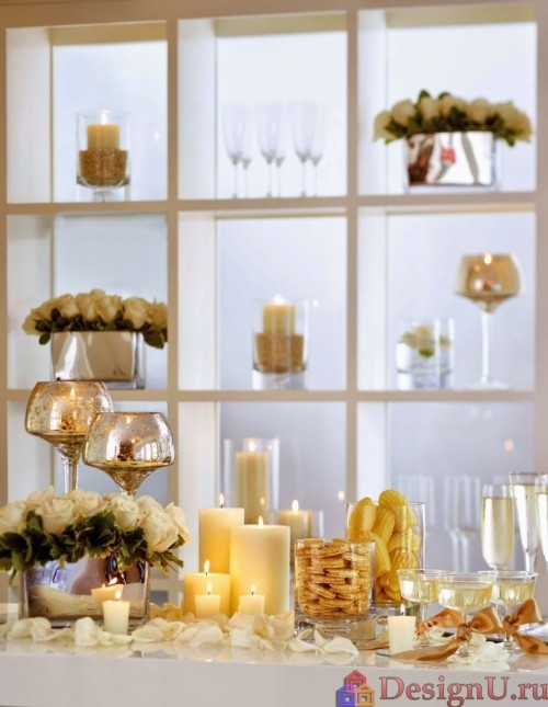 декорирование помещения свечами