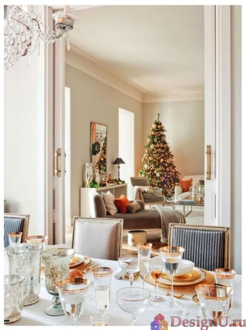 дизайн домашнего интерьера к рождеству и новому году