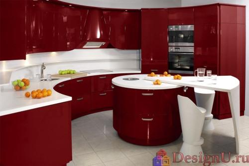 красная кухня с круглым островом