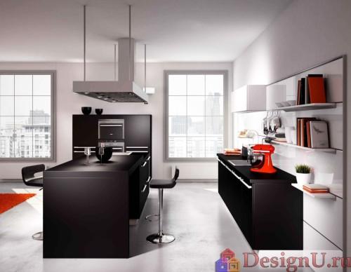 кухня с островом минимализм