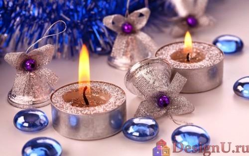 новогодний декор свечами