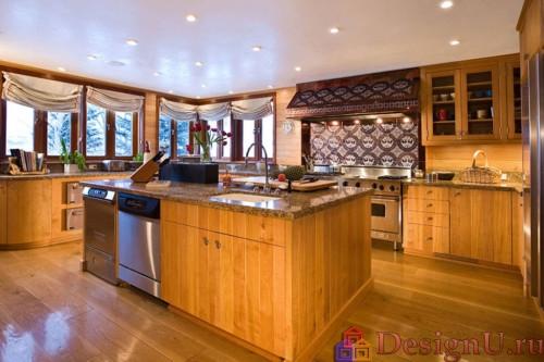 остров на кухне с стиле шале
