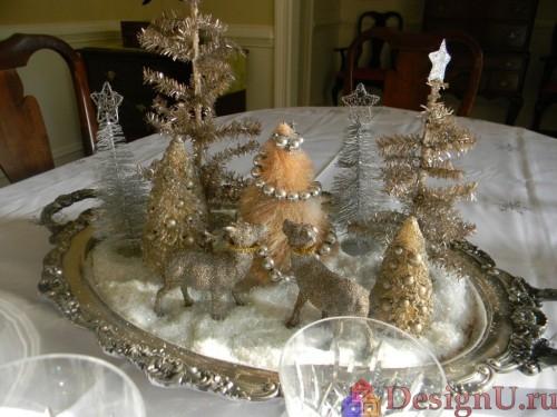 украшение новогоднего стола серебряная посуда приборы