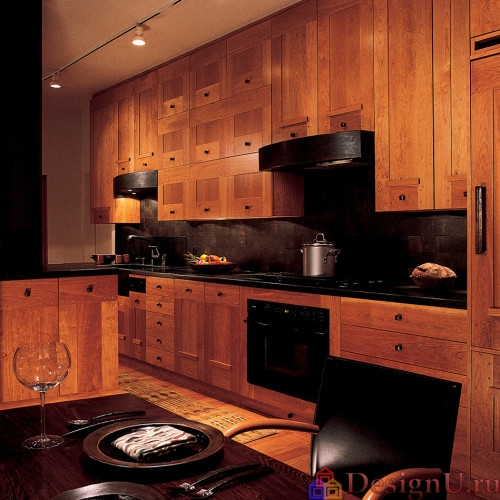 дерево в дизайне кухни в стиле эклектика